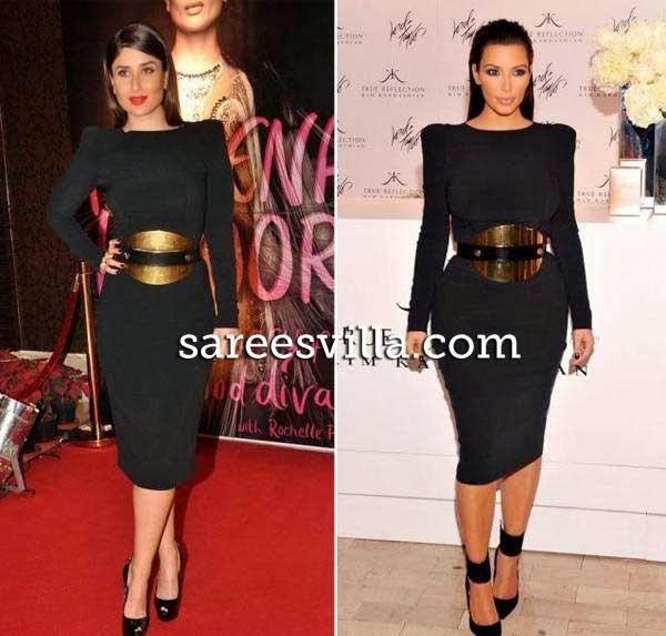Kareena Kapoor and Kim Kardashian in similar outfit