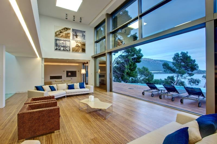 Open living room in Modern mansion on the cliffs of Mallorca