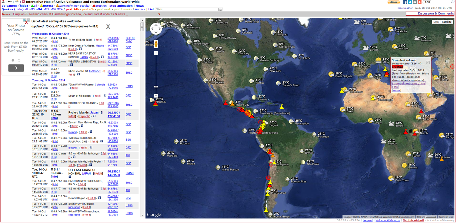 Geography brambletye live volcano and earthquake map it is a world map with live feeds of erupting volcanoes and recent earthquakes click on the volcano and it will give you more information and live webcam gumiabroncs Image collections