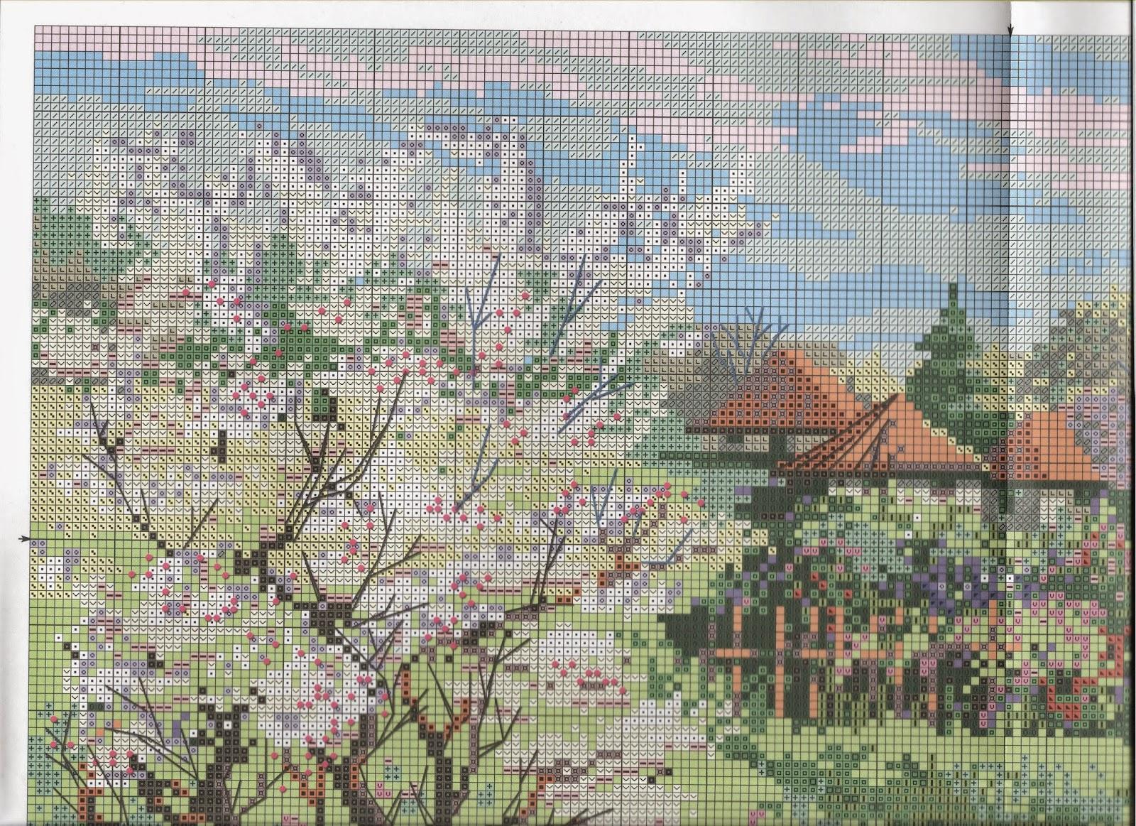 Яблоневый сад в вышивке