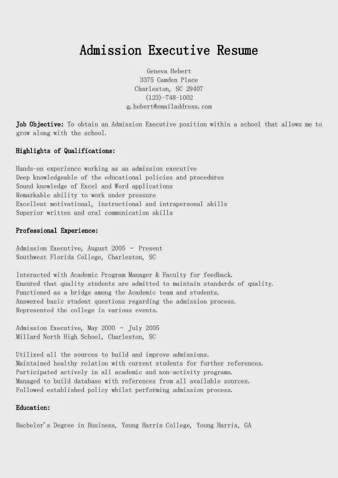 resume samples admission executive resume sample