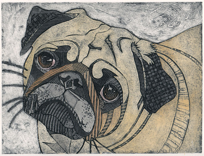 Bonnie Murray Prints: Pug (Original Collagraph of Short-Muzzled Dog)