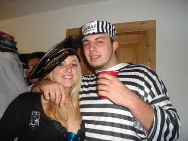 Prisionero Cop traje idea para Halloween
