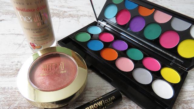 MILANI Baked Blush Luminoso, BOURJOIS Healthy Mix Makeup, SLEEK palette, MILANI Brow Shaping Clear Wax