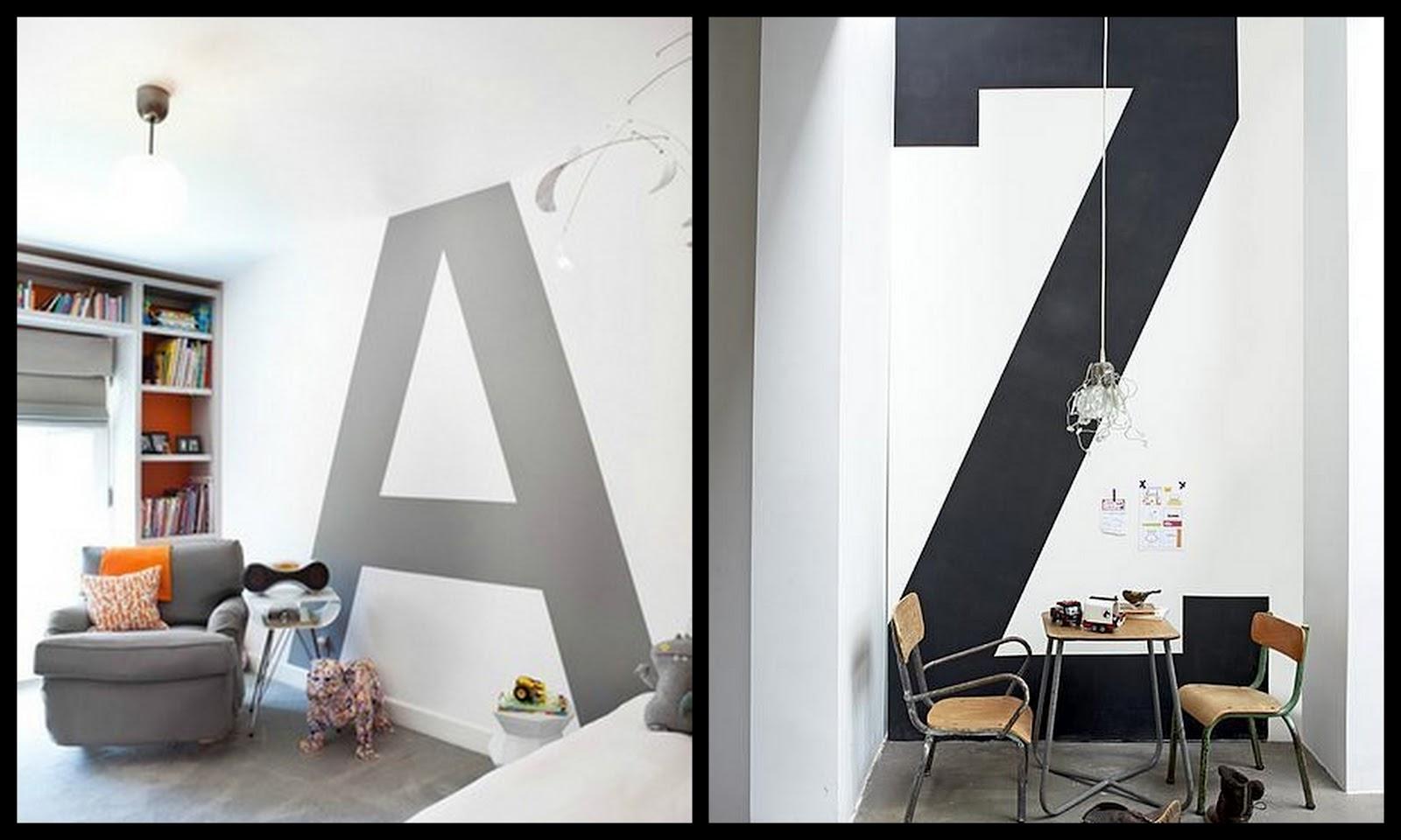 Letterkundig: decoratieve letters: in het interieur