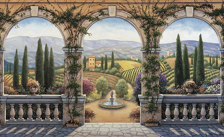 Italian kitchen design interior design online for Cypress gardens mural