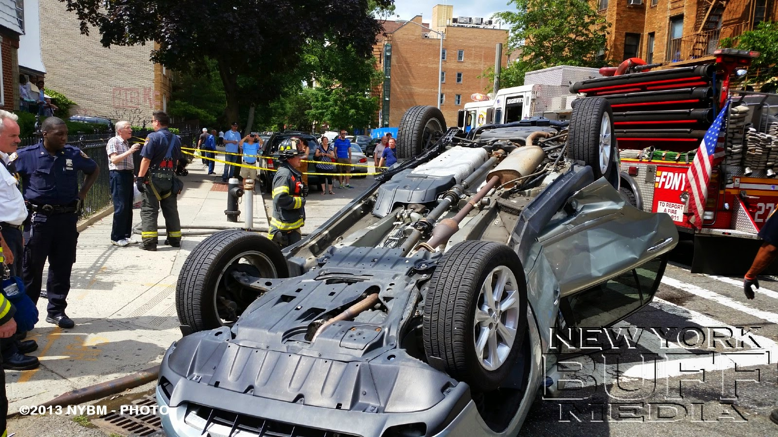 New York Buff Media Car Overturns On Ave P In Brooklyn