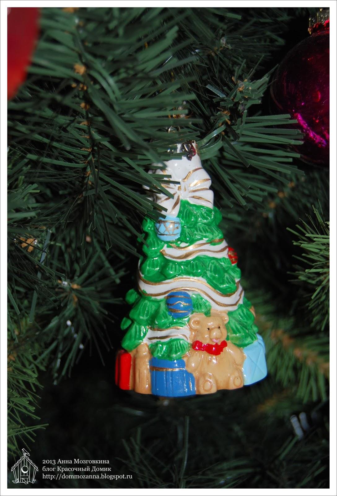 новогодняя игрушка елка керамика