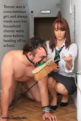 Schoolgirl dommes tidies up.