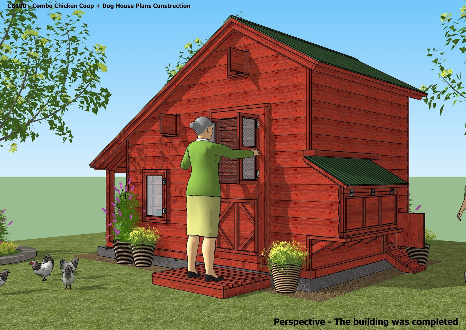 Home garden plans cb100 combo plans chicken coop for Plans for hen house