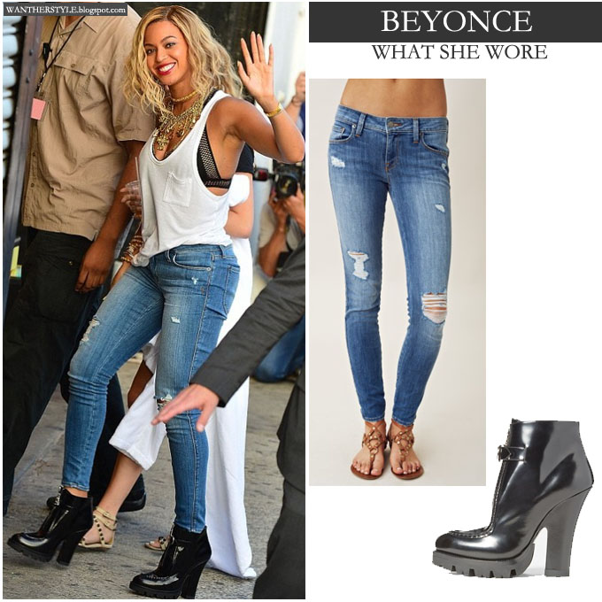 What She Wore Beyonce In White Top With Blue Distressed