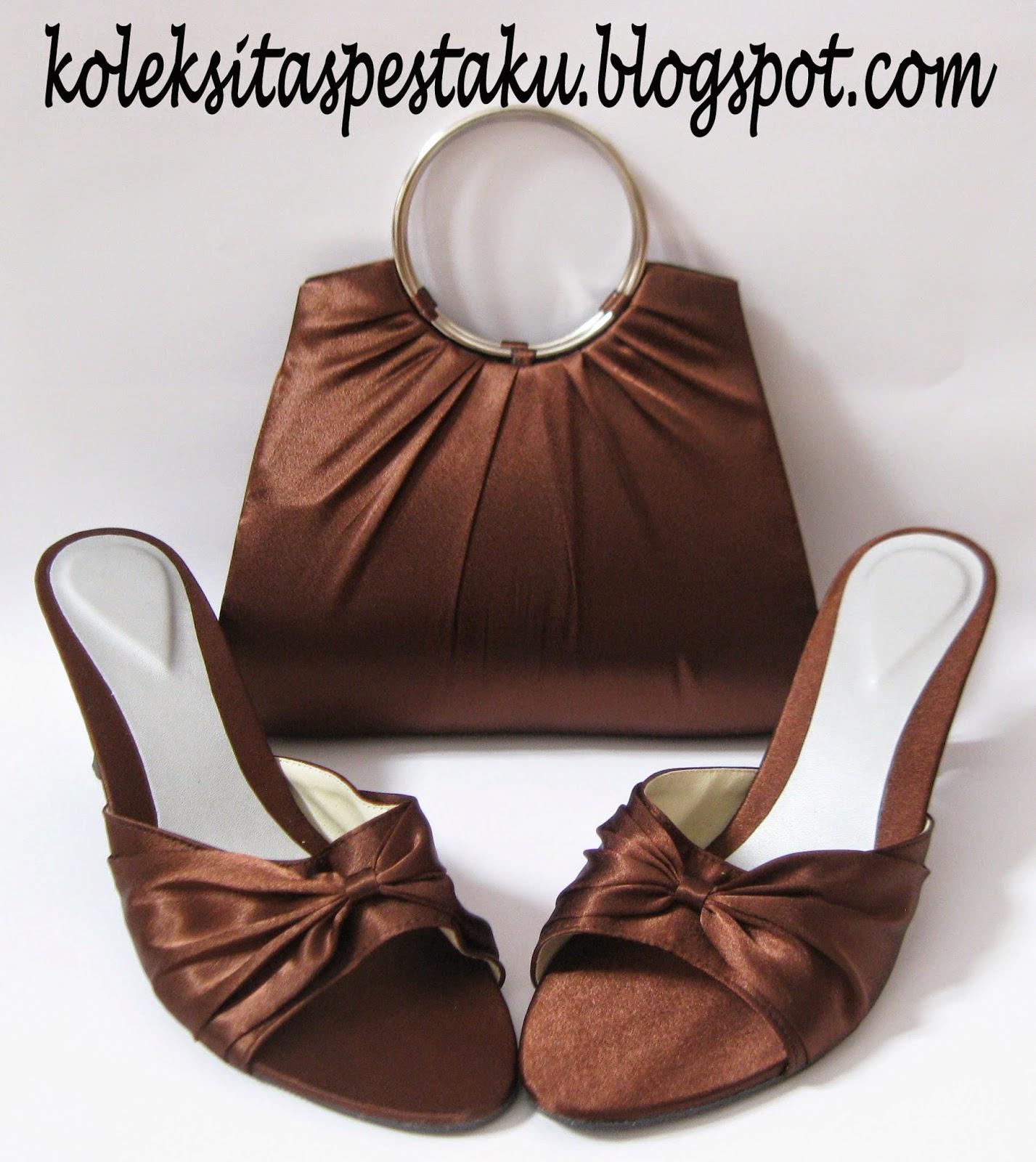 Set Matching Coklat ClutchBag Tas Pesta dan Sandal Pesta Mewah