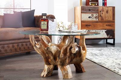 stolik z masivneho dreva, stolik so sklenenou doskou, stolik do obyvacky
