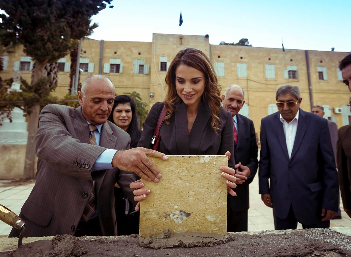 Queen Rania of Jordan visited the Al Salt Secondary School