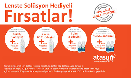 Atasun Optik Lens ve Solusyon Firsatlari
