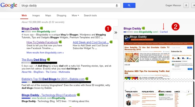 Google Cache In Google Search Results