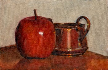 Oil painting of a red Pink Lady apple beside a small copper pot on a wooden shelf.