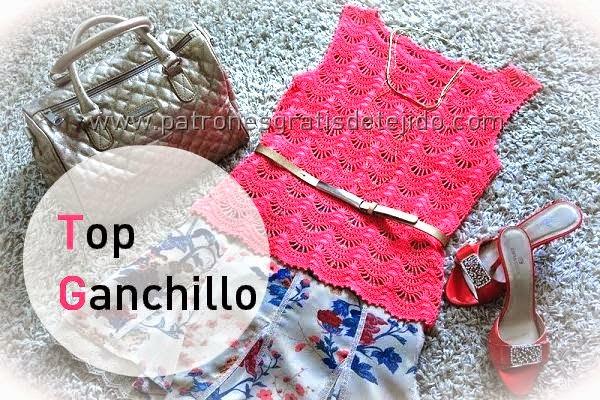Moldes y diagramas de blusa crochet sin mangas