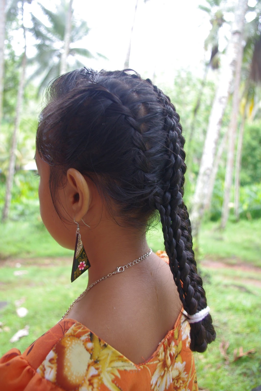 Micronesian Girl Basket Weave French Braids Hairstyle Center