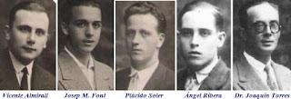 Los ajedrecistas españoles Vicente Almirall, Josep M. Font, Plácido Soler, Ángel Ribera y Dr. Joaquín Torres