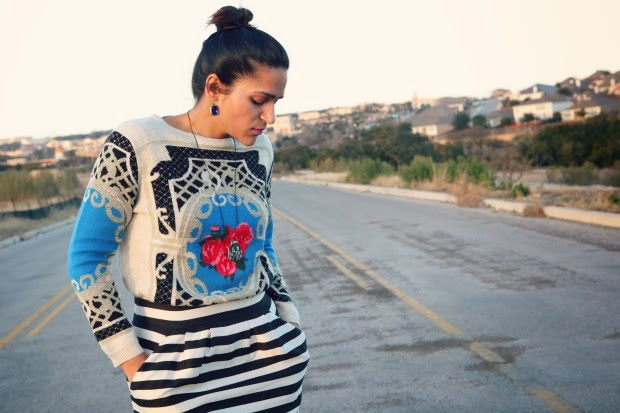 Scarf Print Sweater, Banana Republic Skirt, Aldo Pumps, Crazy & Co. Earrings, Tanvii.com