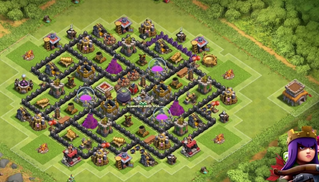 Hall 8 farming base with air sweeper best th8 farming base defense