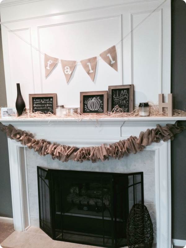Fall fireplace, fall decor, burlap garland, burlap bunting, burlap banner
