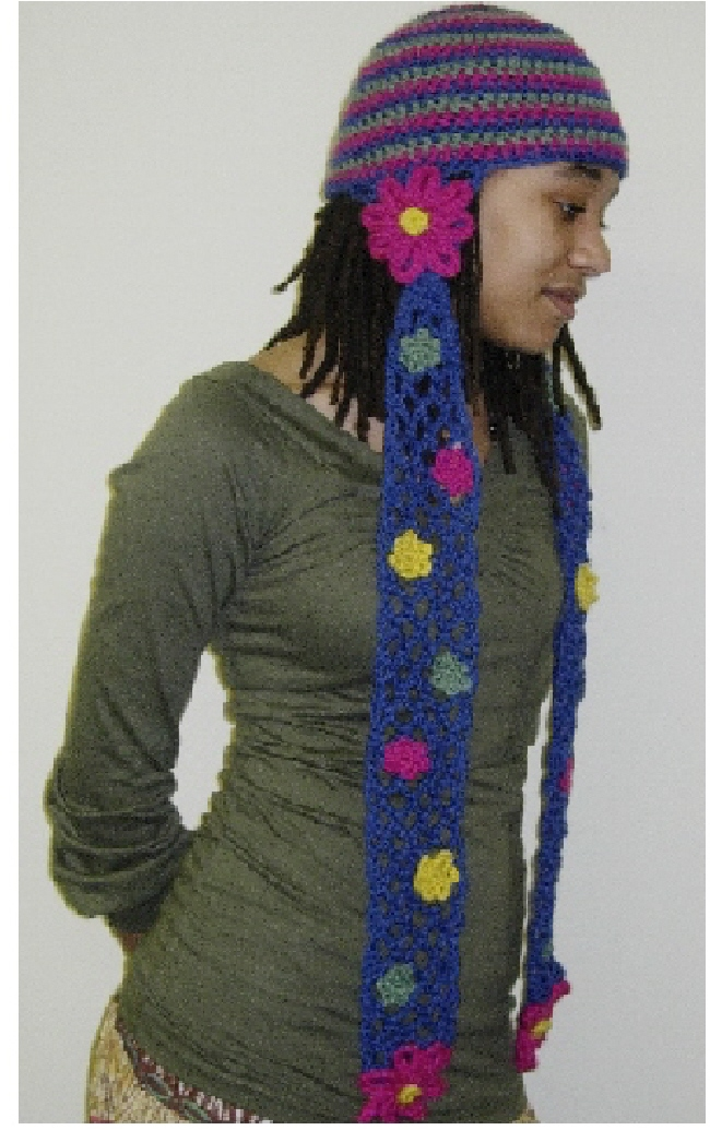 Knitting Pattern For Hat With Scarf Attached : Positively Crochet!: Darling Daisy Hat / Scarf - Positively Crochet!
