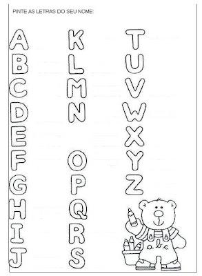 Educação Infantil Atividades - Atividade. Pinte as letras do seu nome - Educação Infantil