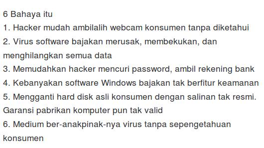 Bahaya menggunakan Software bajakan
