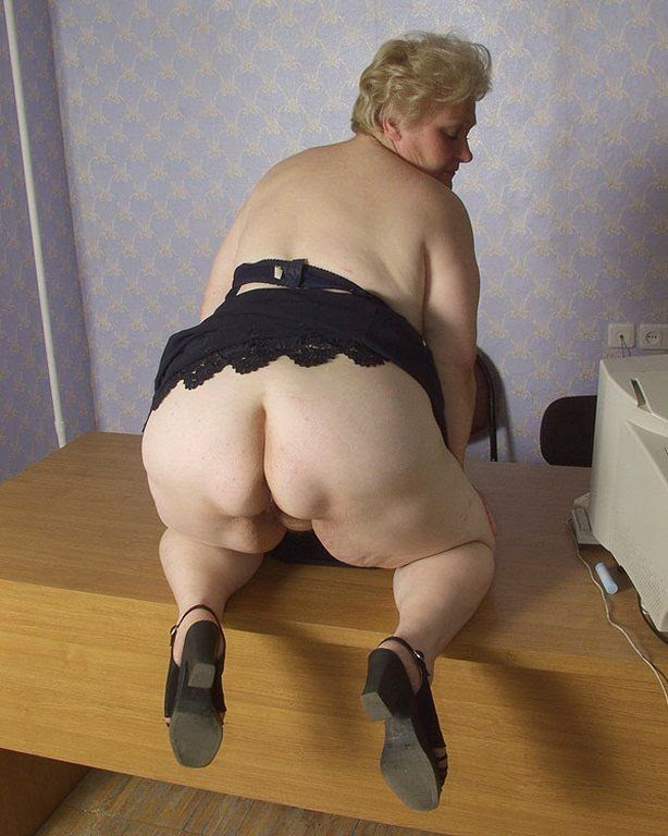 plump granny showing her big fat ass