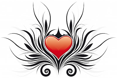 Tribal Heart Tattoo Designs with Sexy wings for girls lower back and arms because heart is symbol of love.