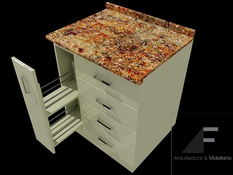Af arquitectura y mobiliario mobiliario para cocina 2 for Cajoneras de cocina