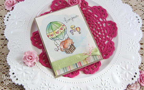Cat in Hot Air Balloon Card by Jennifer Jackson | Newton Dreams of Paris Stamp by Newton's Nook Designs