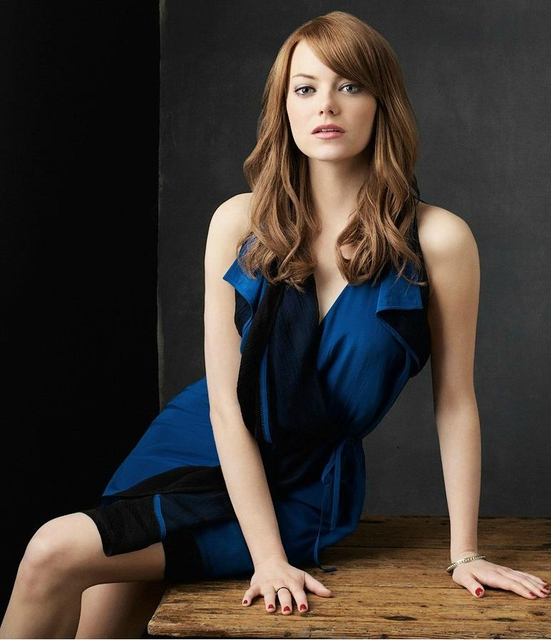 Emma Stone Photoshoot in Blue Skirt Hot - Various Hot Photos