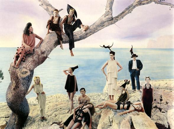 Cuadro de Ouka Leele en el que aparecen personajes pintorescos que parecen como salidos de un circo minimalista.