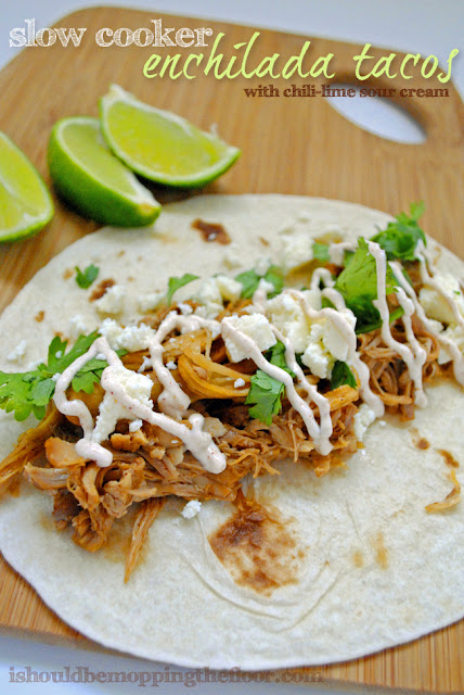 """Slow Cooker Enchilada Tacos with Chili-Lime Sour Cream {an easy """"throw in the slow cooker and walk away"""" meal}"""