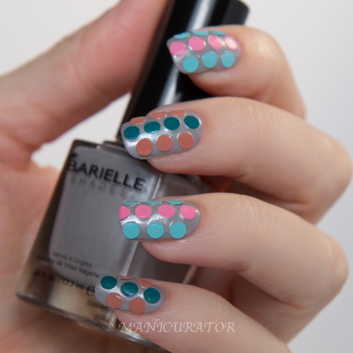 Barielle Gentle Breeze Spring Grey Sky dot nail art