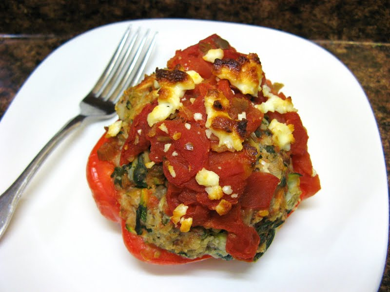 The Well-Fed Newlyweds: Greek-Style Stuffed Peppers