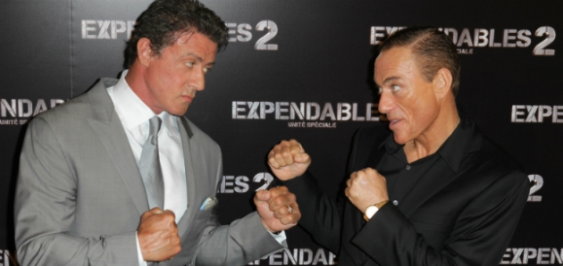 and Jean-Claude Van Damme training bodybuilding for expendables 2