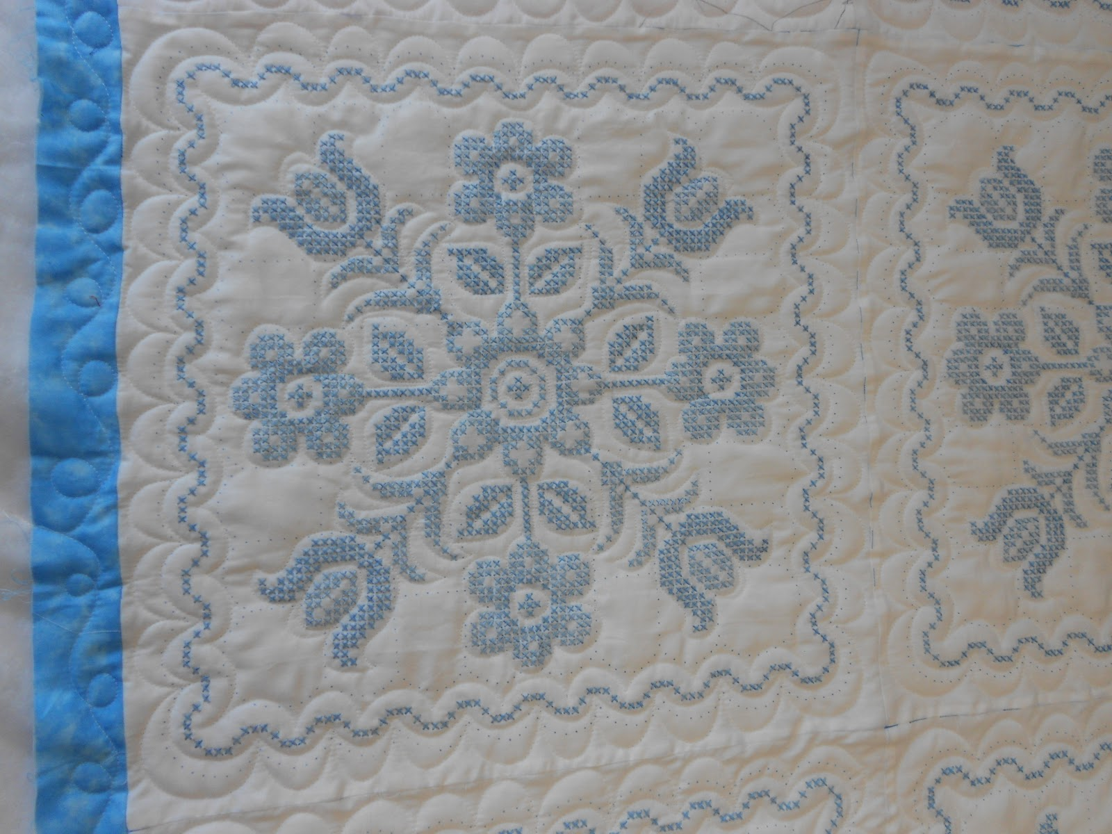 Down To Sew Carol S Blue Embroidered Quilt
