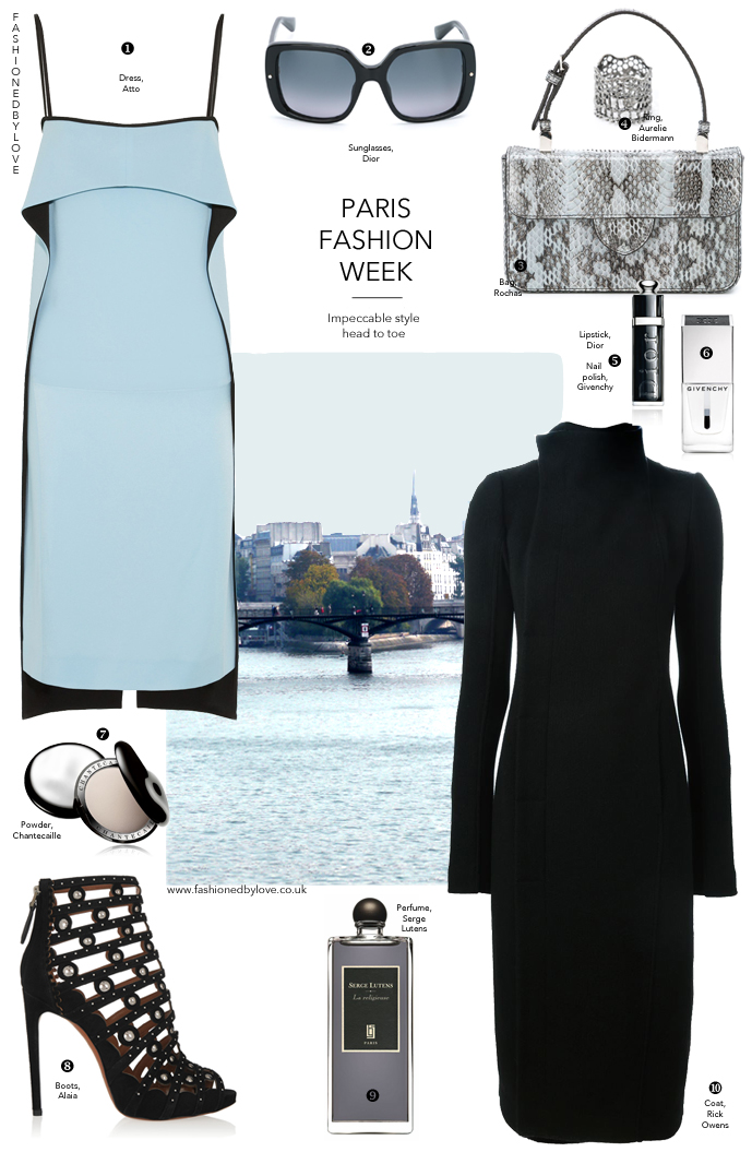 Outfit idea inspired by Paris fashion week. What to wear in Paris, Parisian style, how to be Parisian. Alaia, Dior, Atto, Serge Lutens, Rochas. via fashionedbylove.co.uk british fashion blog