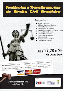 Evento: Tendências e transformações do Direito Civil Brasileiro- 27, 28 e 29 de outubro em João Pessoa