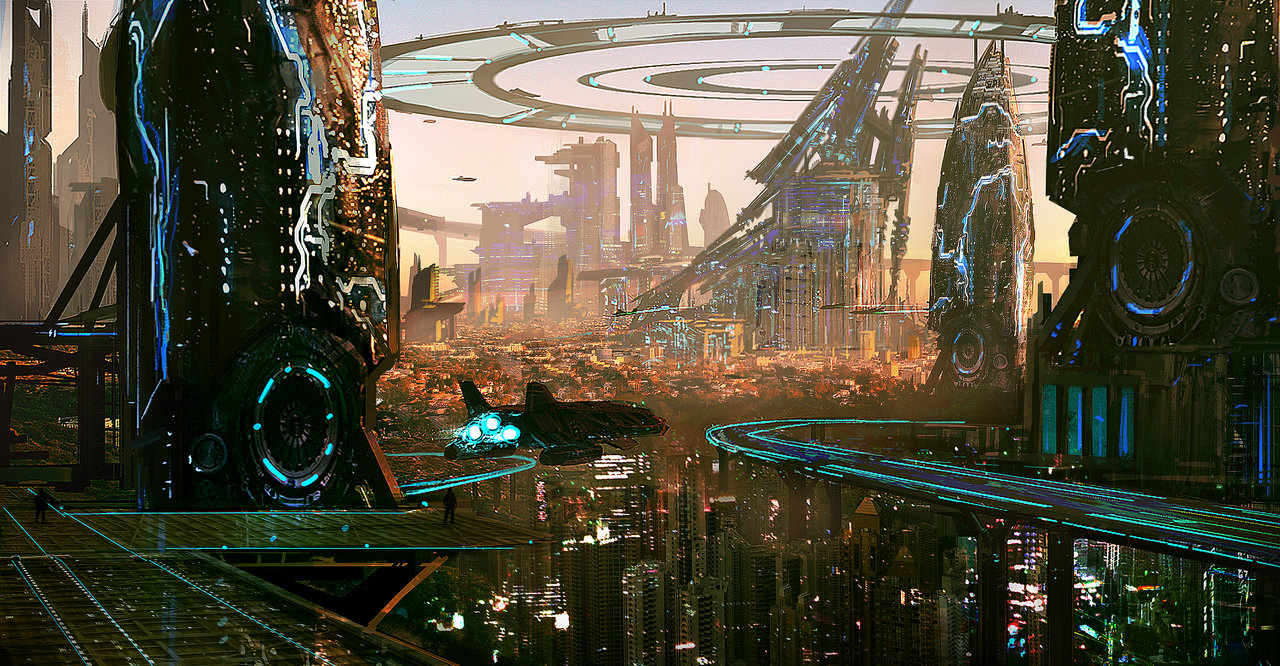 Sprawling Futuristic City With Sci-Fi Buildings And Towers