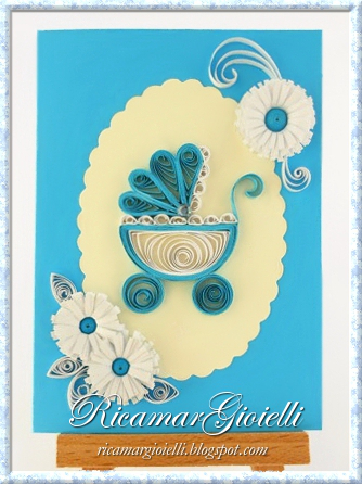 Quilling card con carrozzina e fiori