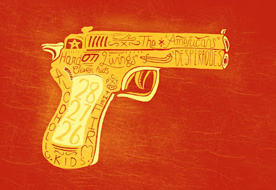 illustration of a gun with handmade type