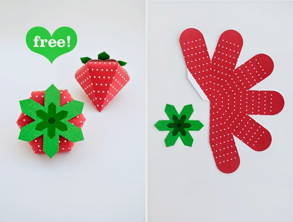 Strawberry Shaped Free Printable Box.