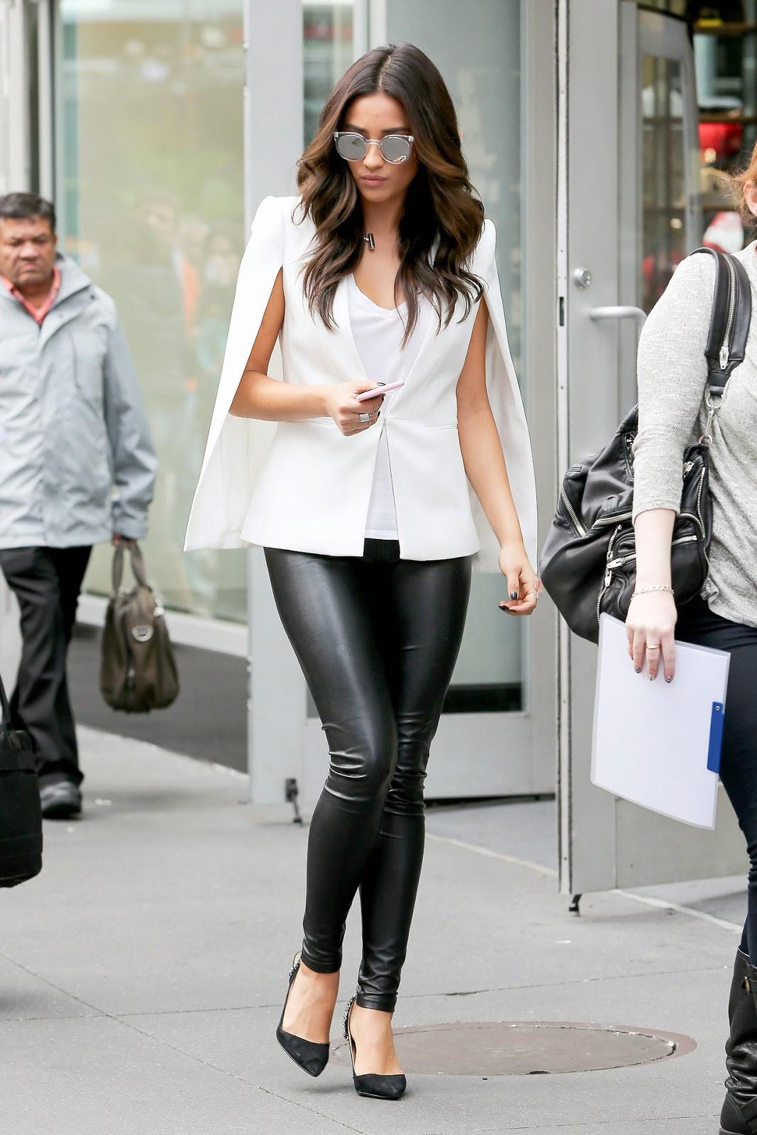 Shay Mitchell in white cape blazer. NYC. City Chic