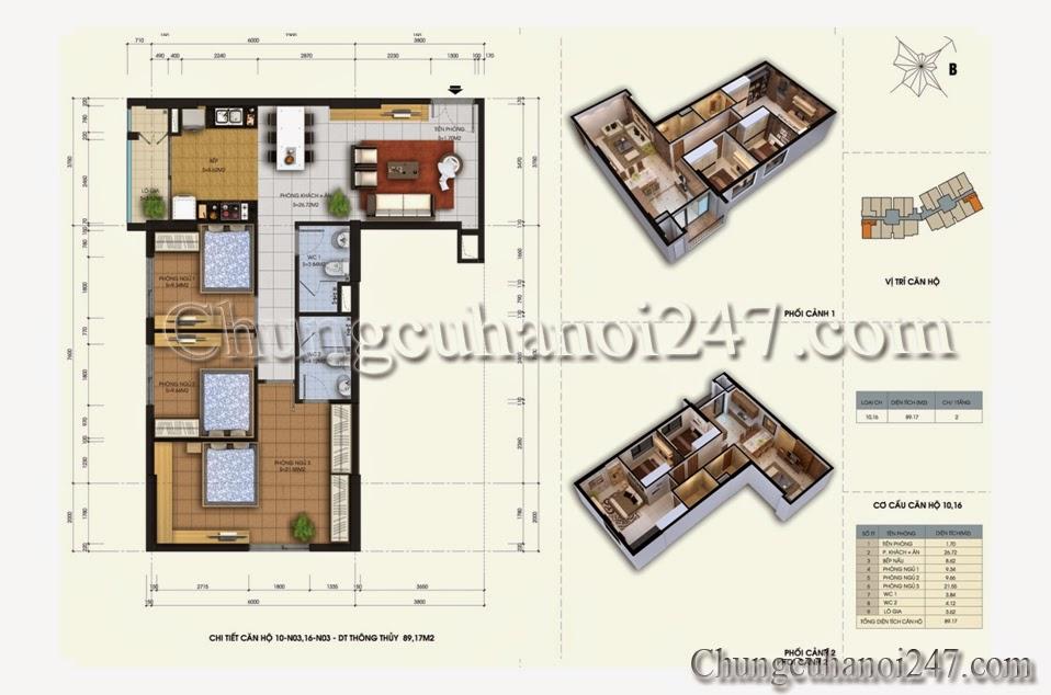 mặt bằng thiết kế căn hộ diện tích 89.17m2 tòa N03 chung cư 87 Lĩnh Nam