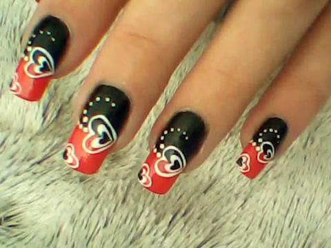 Manikir-obuka-tutorijal-3-(crveno-crni-nail-art-nokti)-001